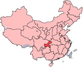 Chongqings läge i Kina.