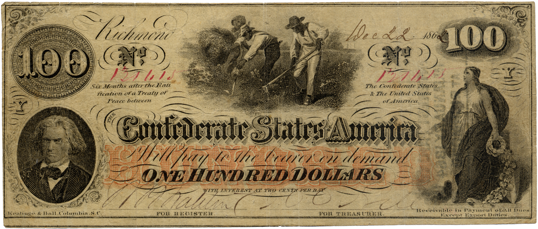 File:Confederate 100 Dollars jpg - Wikimedia Commons