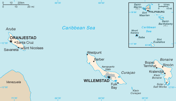 Map of the Dutch Caribbean islands, all part of the Kingdom of the Netherlands. Aruba, Curacao and Sint Maarten are separate constituent countries within the Kingdom, whereas Bonaire, Sint Eustatius, and Saba are part of the constituent country of the Netherlands. Dutch Caribbean map.png