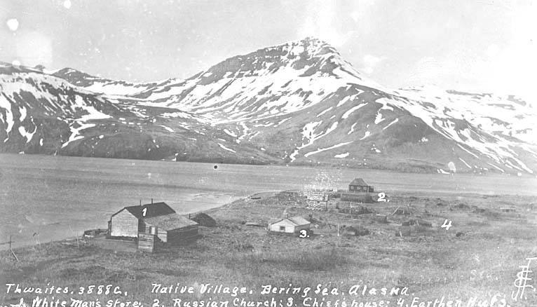 File:Eskimo village along the Bering Sea, ca 1912 (THWAITES 235).jpeg