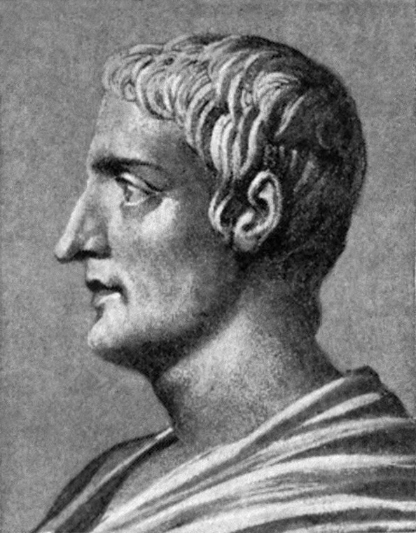 Drawing of Gaius Cornelius Tacitus by an unknown artist, said to be based on an ancient bust. Photo credit: Grolier Society./Wikimedia Commons [Licensed under Creative Commons]