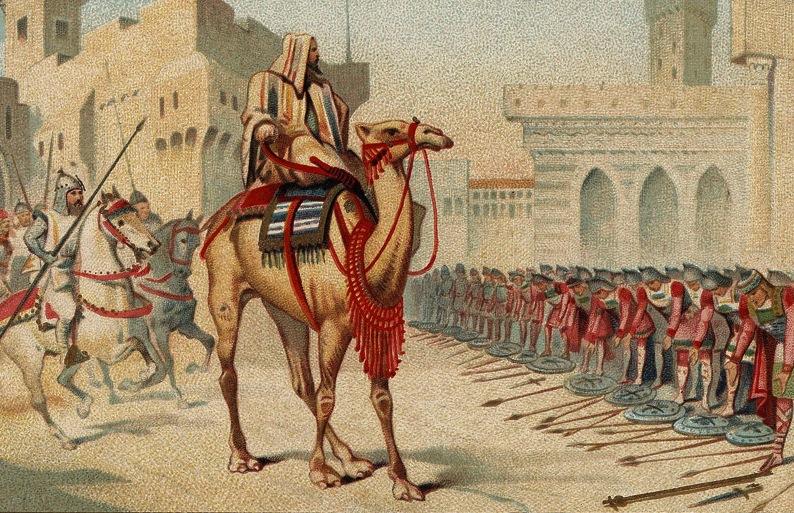 Grands conquerants - Omar, le 2eme calife, prenant en personne possession de Jerusalem l'an 638 de l'ere chretienne