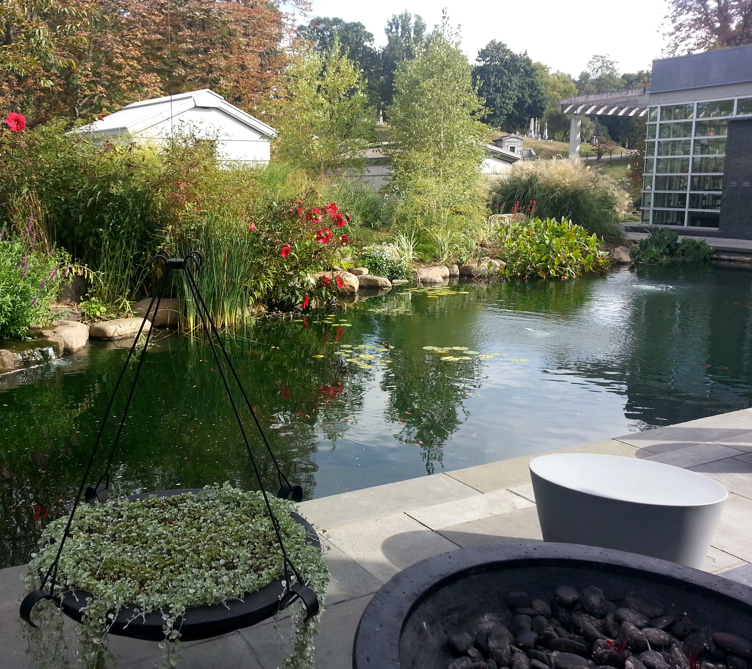 File green wood cemetery tranquility garden koi pond for Koi pond york