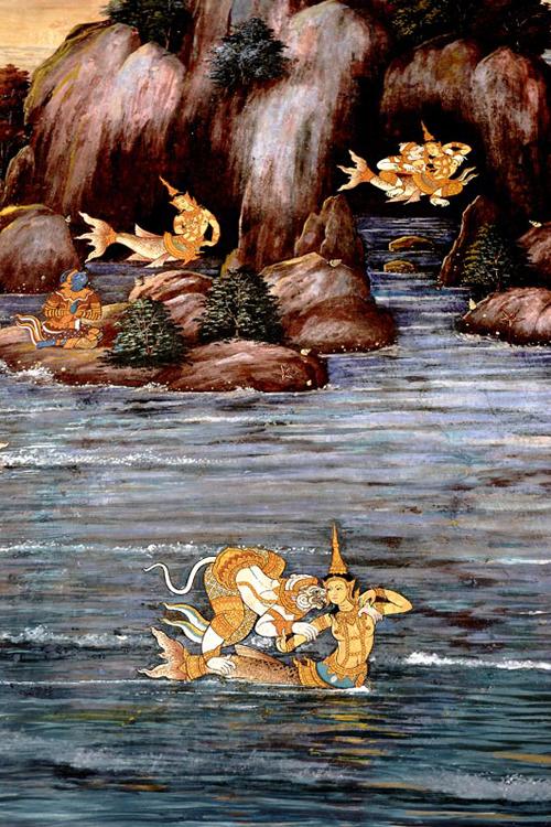 Hanuman mit Jungfrau, hinduistische Göttergestalt