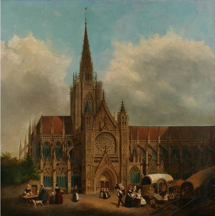 File hippolyte sebron vue d 39 une cath drale wikimedia com - Une cathedrale gothique ...
