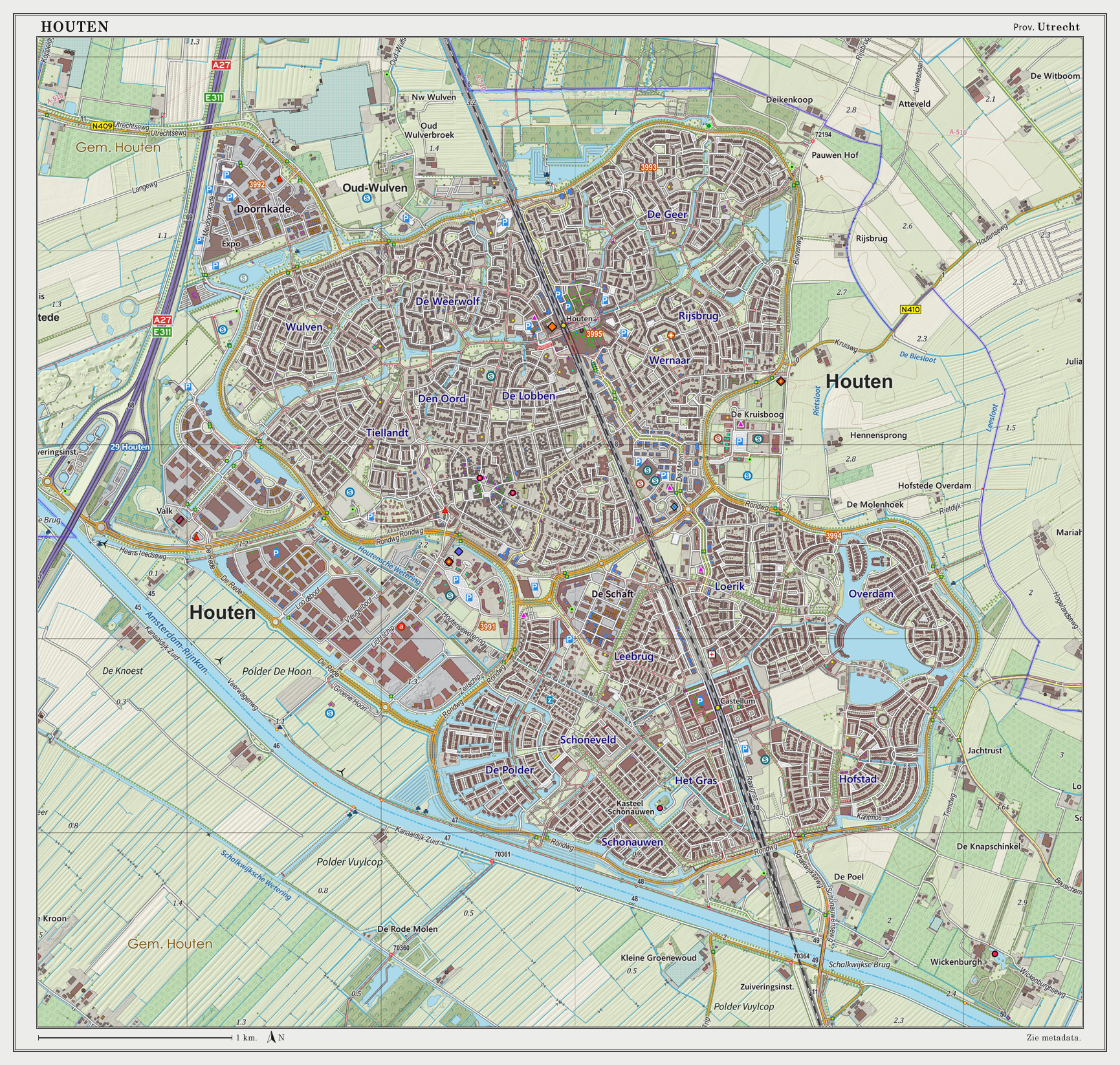Dutch Topographic map of Houten (town), March 2014