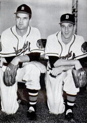 Spahn (right) with Johnny Sain Johnny Sain and Warren Spahn.png