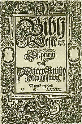 The Bible of Kralice was the first complete translation of the Bible into the Czech language from the original languages. Its six volumes were first published between 1579 and 1593. Kralice.jpg