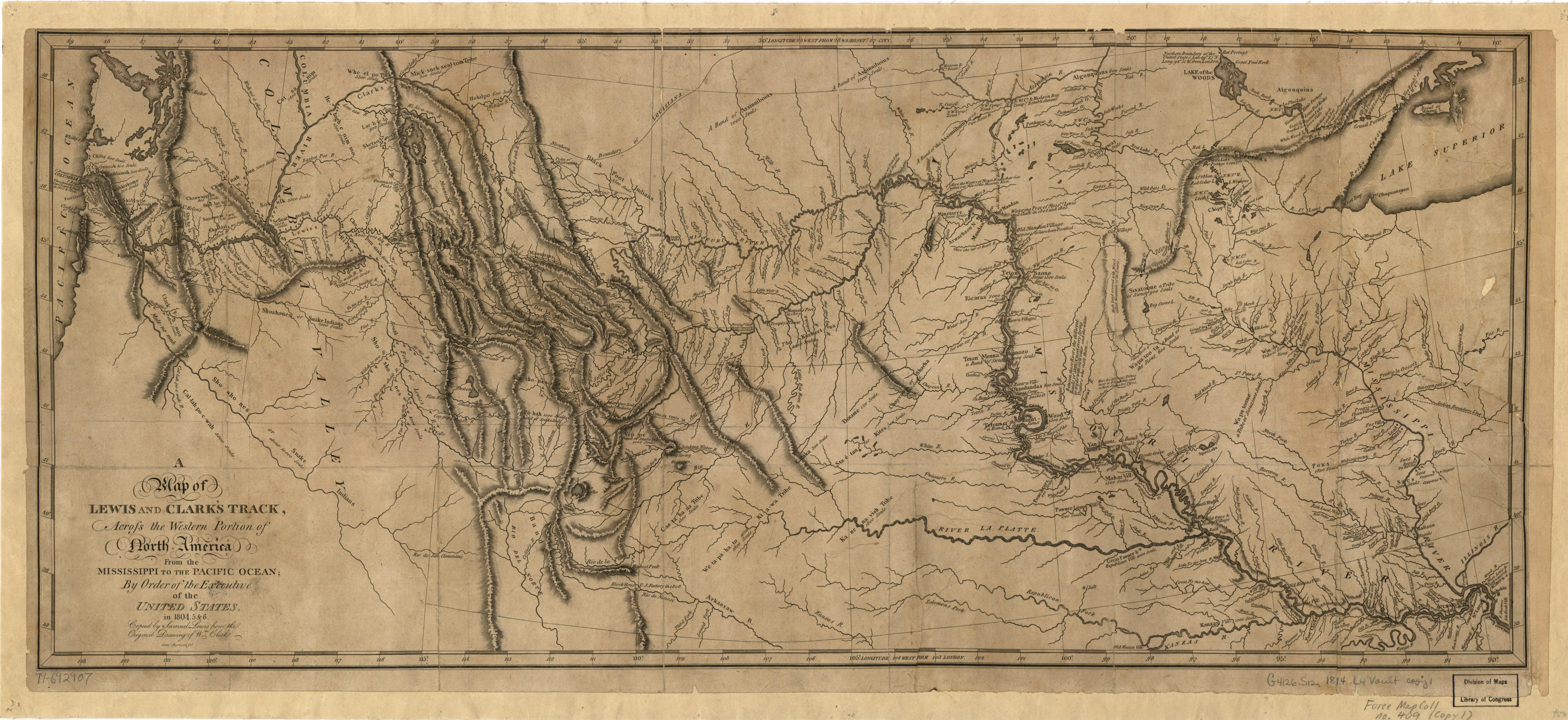 FileLewis And Clark Track Map Published LoCjpg Wikimedia - Us map 1814