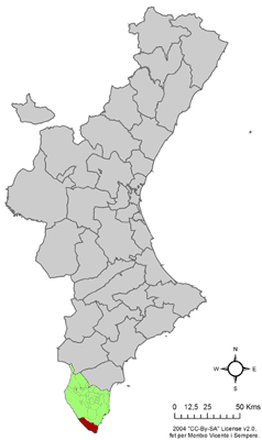 Location of Pilar de la Foradada in Comunidad Valenciana