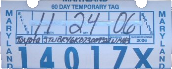 File:Maryland temporary tag, Toyota (November 2006) png - Wikimedia