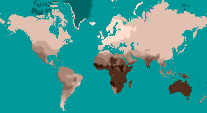 File Mercator Style Projection Map Showing Human Skin Color