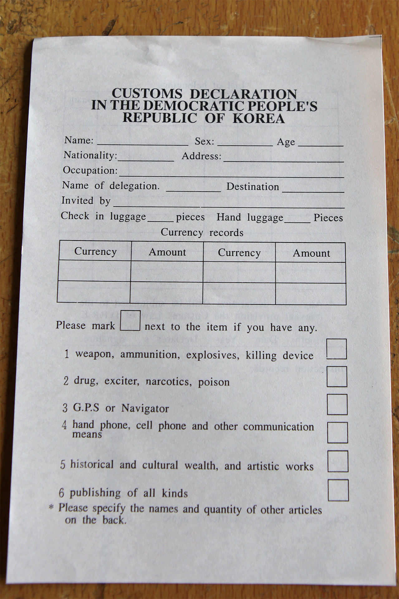 North Korean Customs And Traditions Our Work North Korea Customs Declaration () North Korean Customs And Traditions
