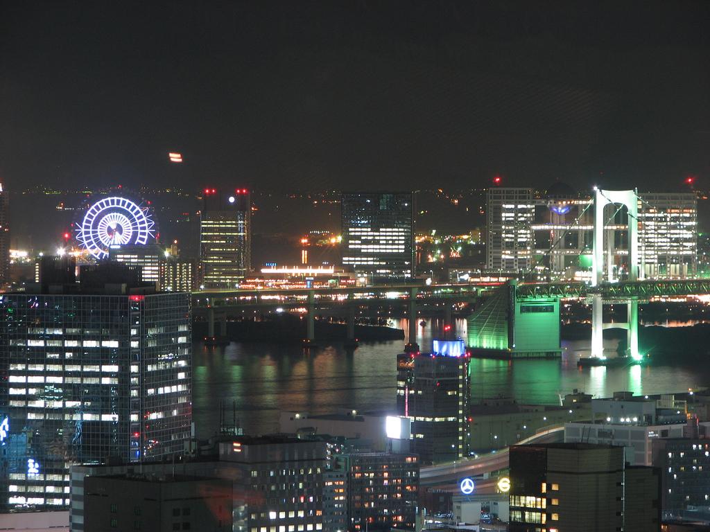 Tokyo Rainbow Bridge And Odaiba At Night Stock Photo | Getty Images