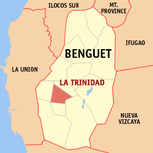 Map of Benguet showing the location of La Trinidad