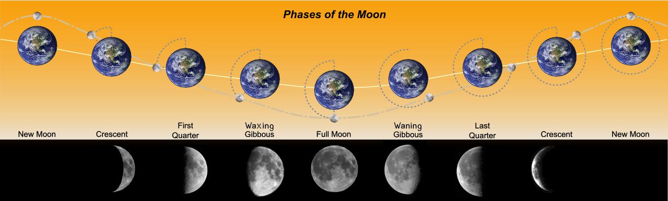 دروس ميدان الظواهر الضوئية والفلكية  حسب منهاج الجيل الثاني 2016 Phases_of_the_Moon