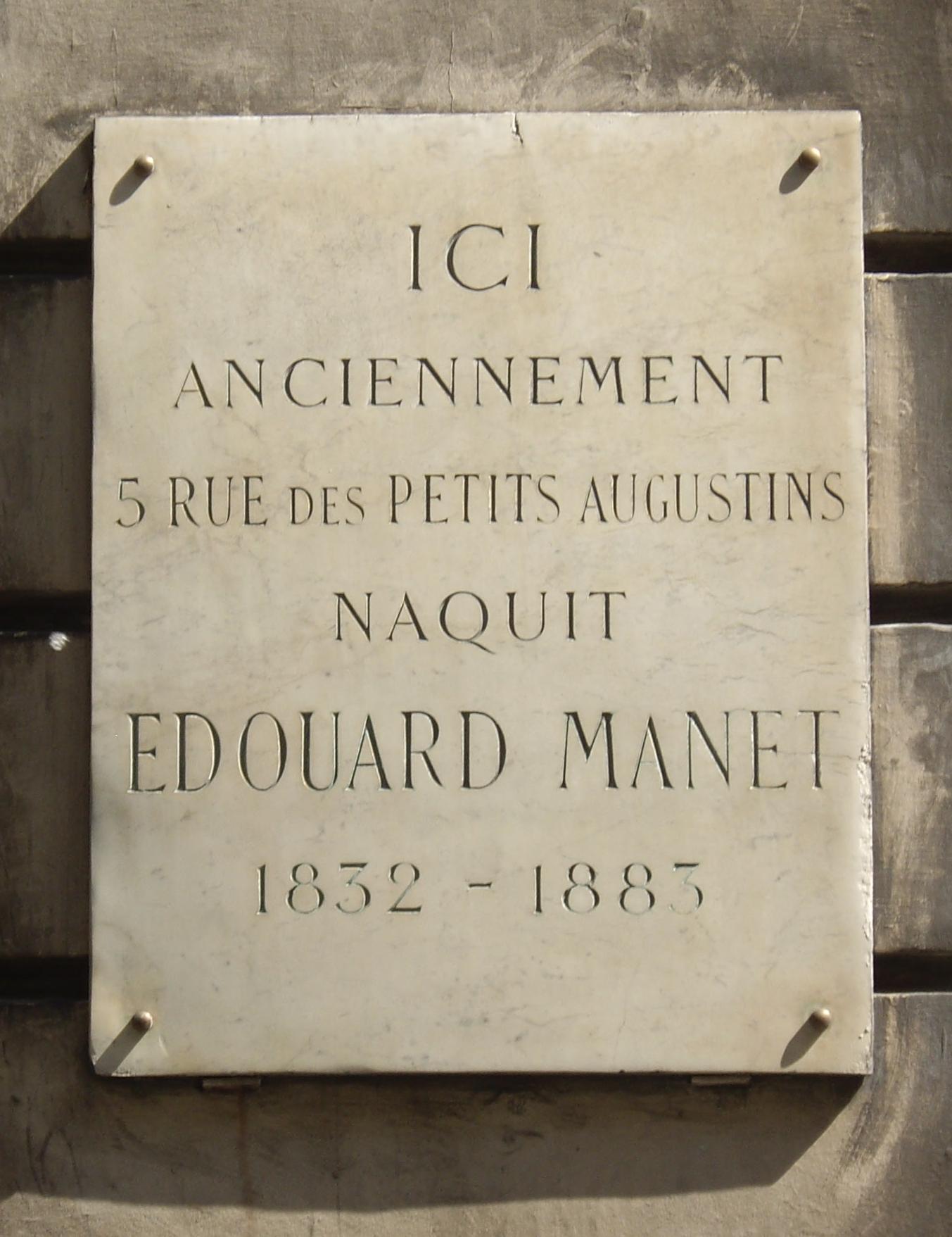 File plaque douard manet 5 rue bonaparte paris wikimedia commons - Rue bonaparte paris 6 ...