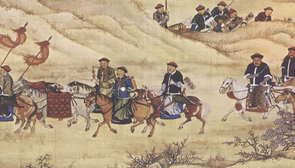 Members of the Manchu Banner troops during a hunting trip