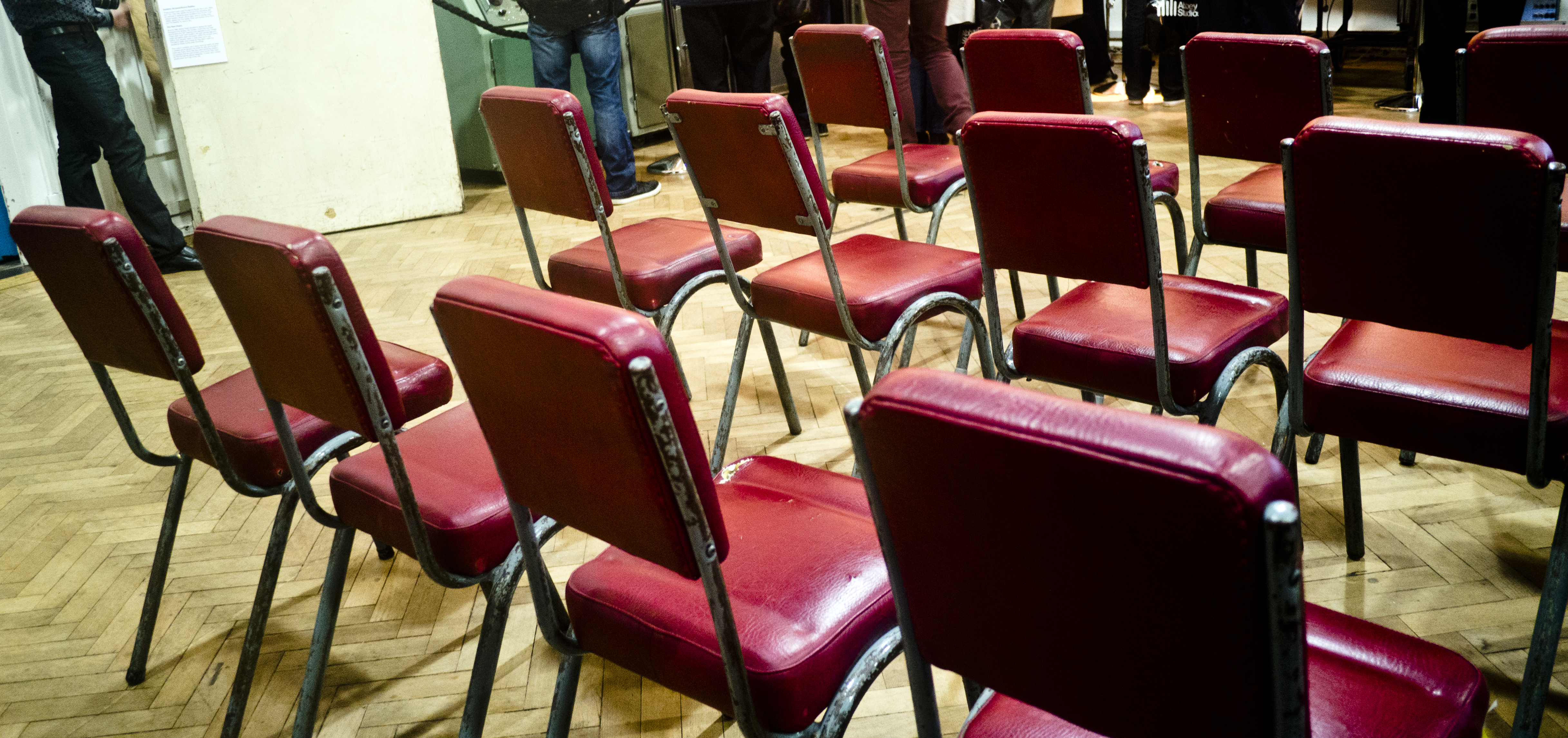 File Red chairs Abbey Road Studios 80th Anniversary March 9