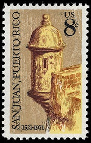San Juan 450th 1971 issue, depicting one of the garitas of El Morro