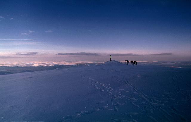 Skiers arriving on Cairngorm