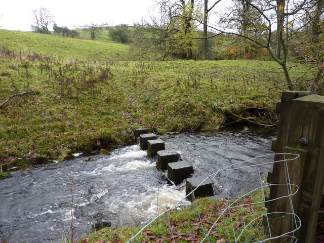 Stepping stones over Twiston Beck - geograph.org.uk - 1580672