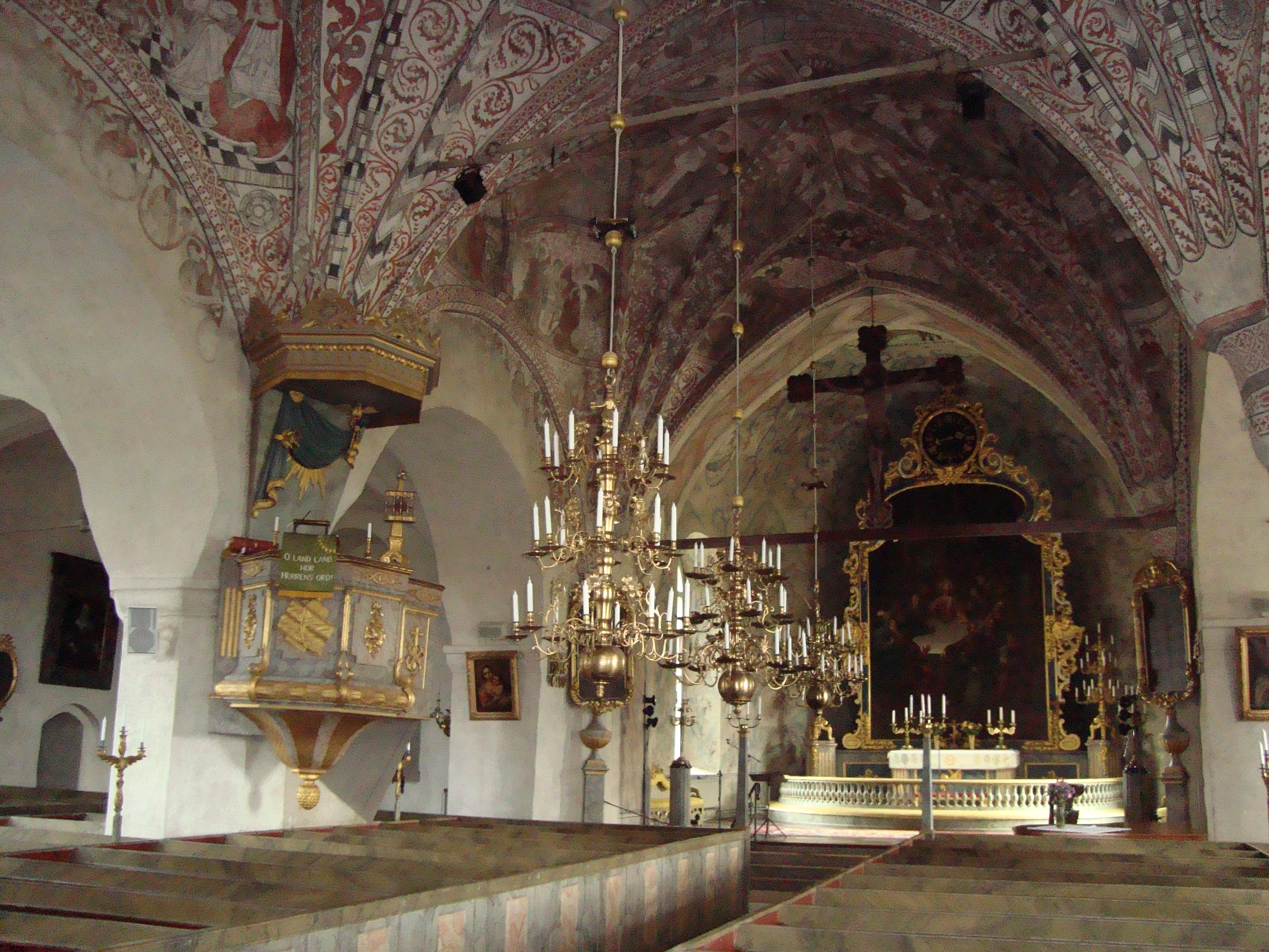 Fil:Stora Skedvi kyrka interir unam.net Wikipedia