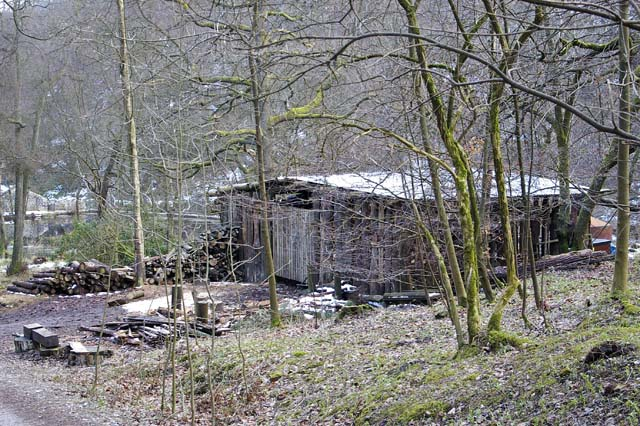 Storage building and timber stacks near Gibson Mill, Hardcastle Crags - geograph.org.uk - 835071