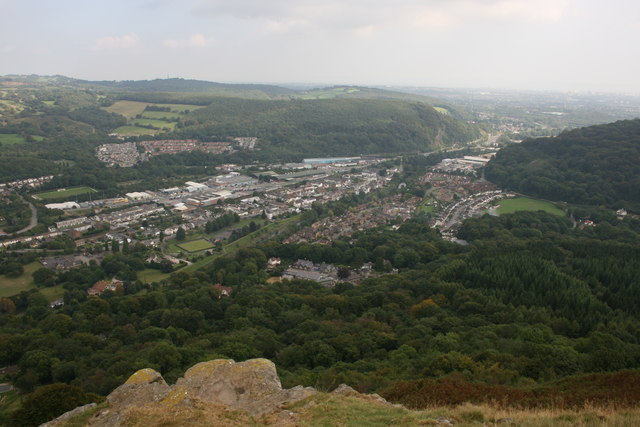 Taff Gorge from sandstone crag on Garth Hill - geograph.org.uk - 633985