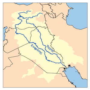 a small and simple map showing the Tigris and Euphrates rivers and some unlabelled national boundaries