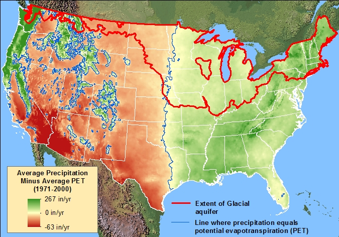FileUnited States Average Precipitation Minus Average Potential - United states precipitation map
