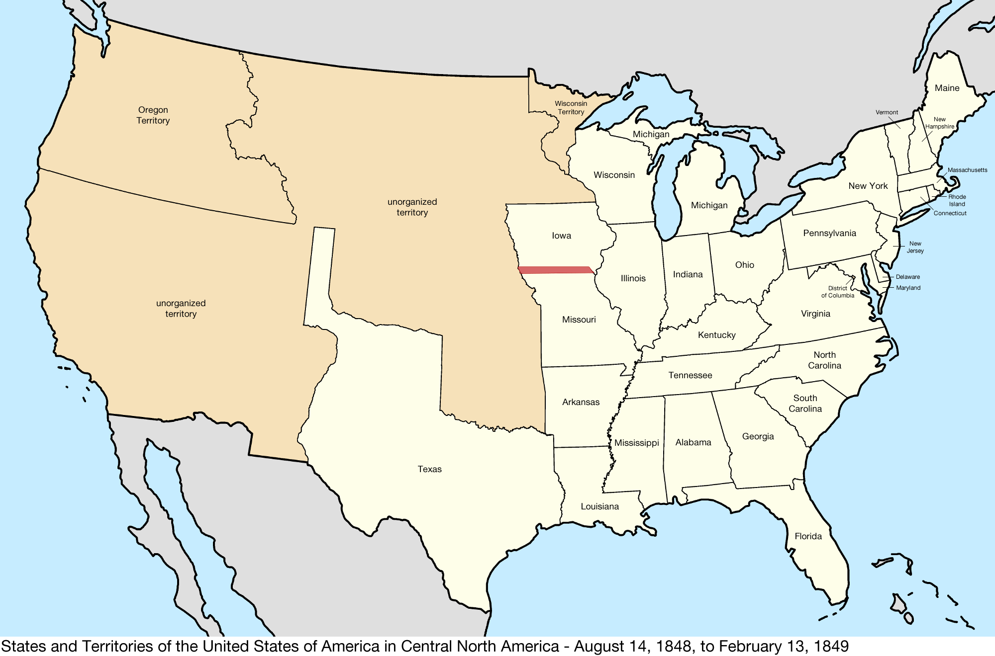 File:United States Central map 1848-08-14 to 1849-02-13.png ... on u.s. railroad map 1849, california map 1849, mexico map 1849, wisconsin map 1849, arizona map 1849, boston map 1849, texas map 1849, world map 1849, greece map 1849, nevada map 1849, europe map 1849,