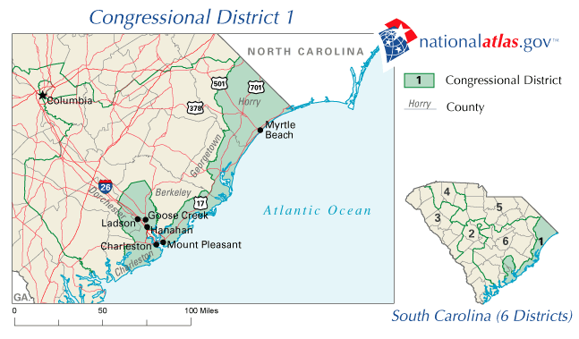 map of SC Congressional District 1