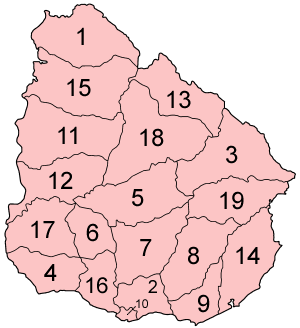 Map of the departments of Uruguay in alphabetical order.