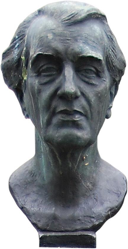 Bust of writer by sculptor [[Břetislav Benda