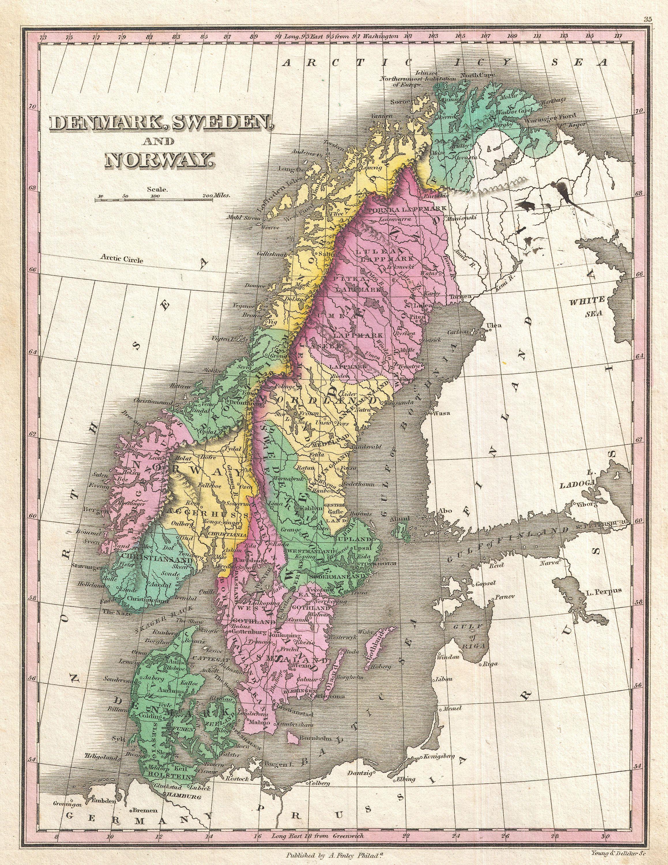 File Finley Map Of Scandinavia Norway Sweden Denmark - Norway map jpg