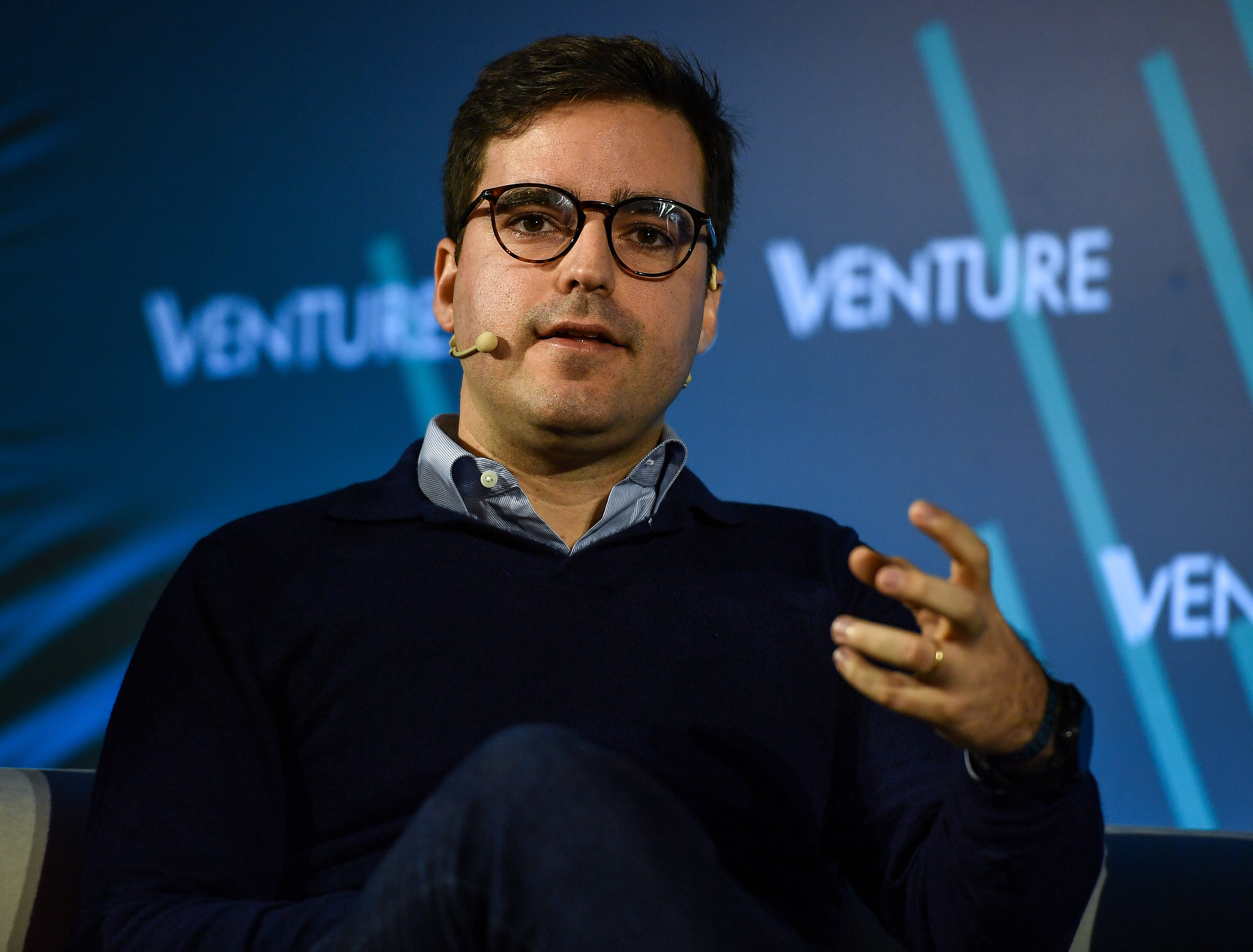 2019 - Venture - Day 1 HM1 7304 (49012438101).jpg 4 November 2019; Nicholas Stocks, White Star Capital on Ventrue Stage at Venture in Convento do