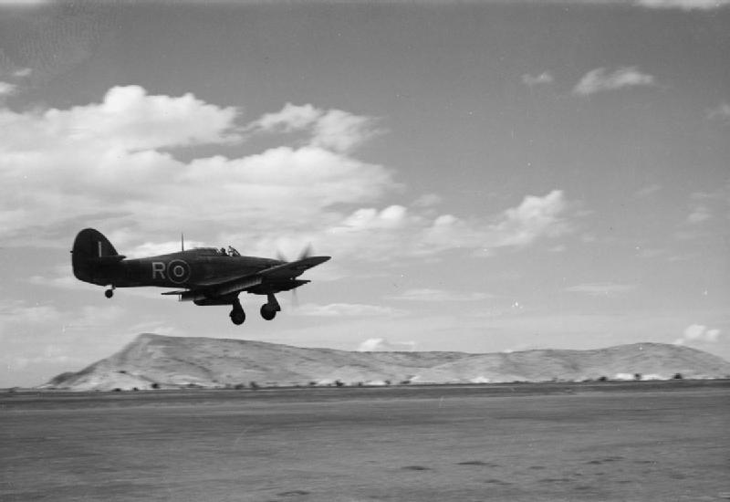 6 Squadron RAF Hurricane landing Araxos Greece IWM CNA 3198.jpg