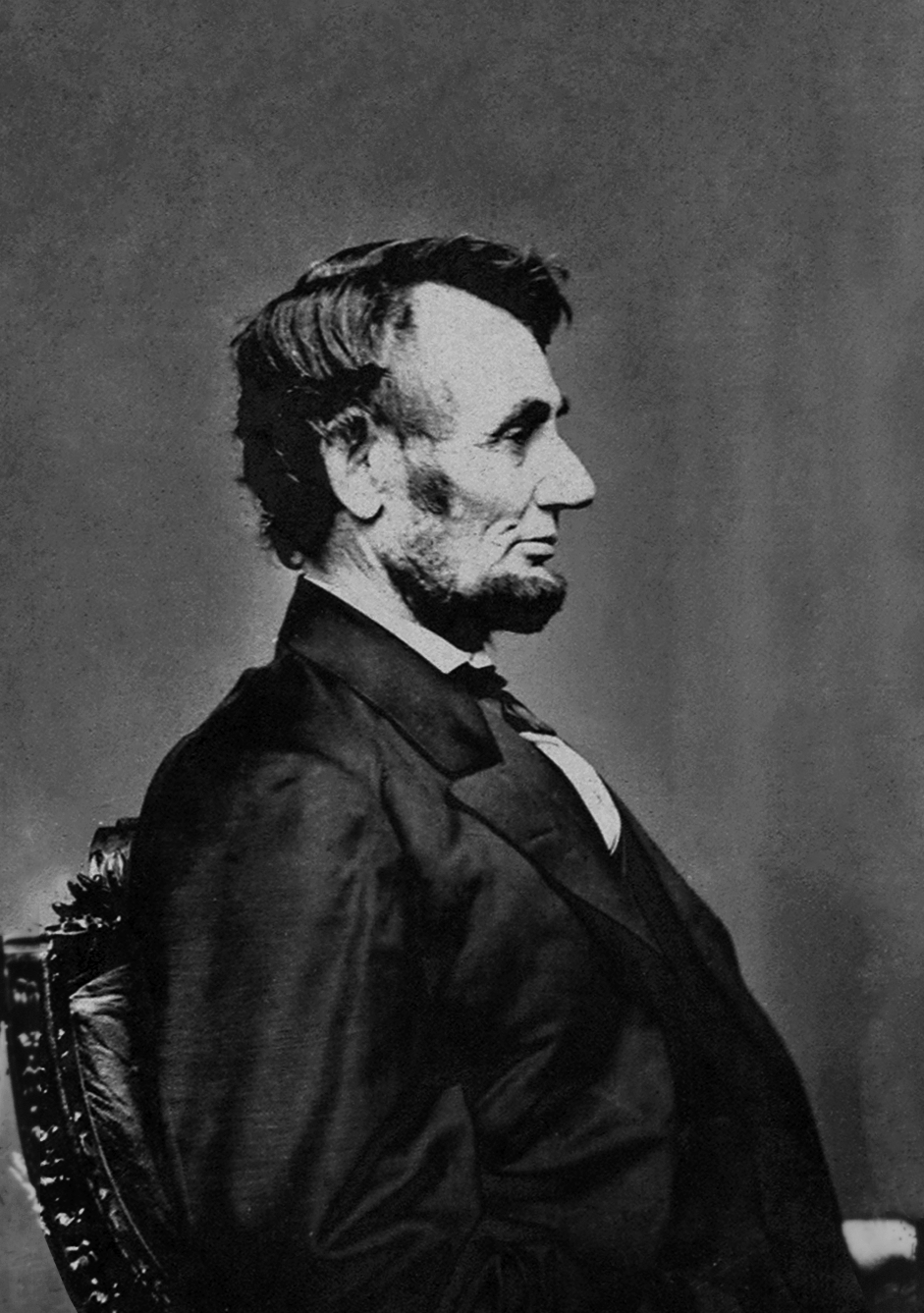 Profile of Abraham Lincoln used for the Lincoln-head cent by Anthony Berger 9 February 1864