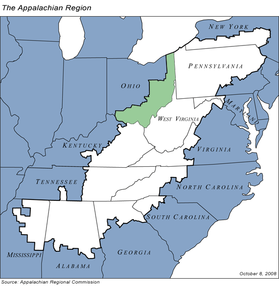 Southwestern Ohio Map.Appalachian Ohio Wikipedia