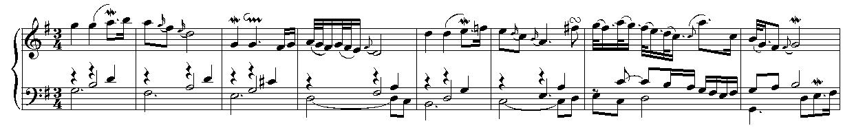 Los primeros ocho compases del aria de las Variaciones Goldberg.