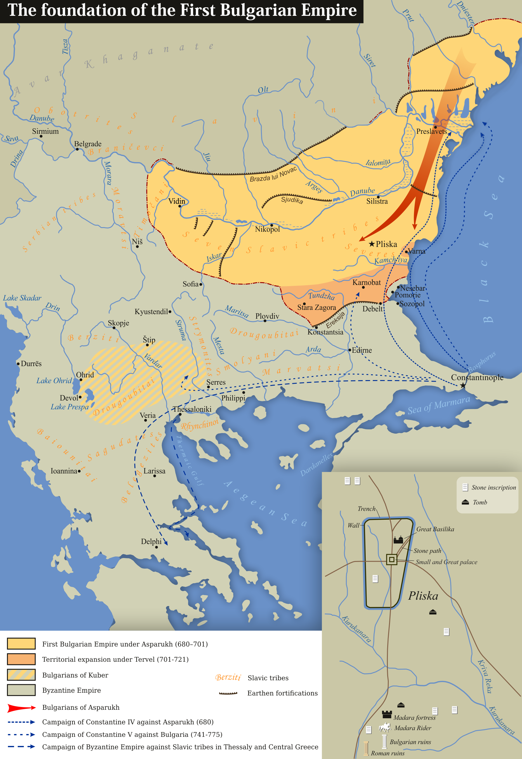 Byzantine–Bulgarian War: Army of Asparukh occupies the territory of current-day Bulgaria.