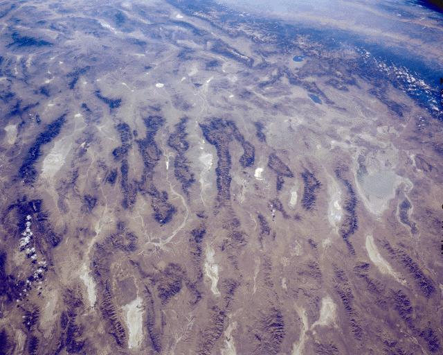 Satellite photo of typical Basin and Range topography across central Nevada