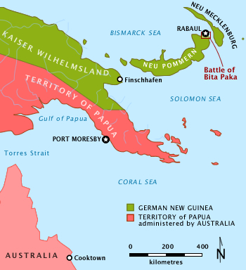 Colour map depicting the location of the Bita Paka within New Guinea