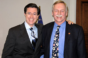 "Comedian Stephen Colbert with Snyder, whose district became ""Better Known"" on February 15, 2007"