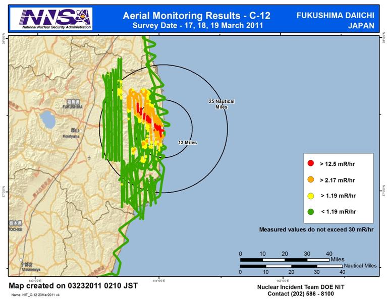 Gráfico geológico de los niveles de radiación detectados en el área de Fukushima por NNSA el 22 de marzo de 2011
