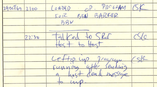 Log of first connection to ARPANET on 29-Oct-1969 handwritten on lined paper