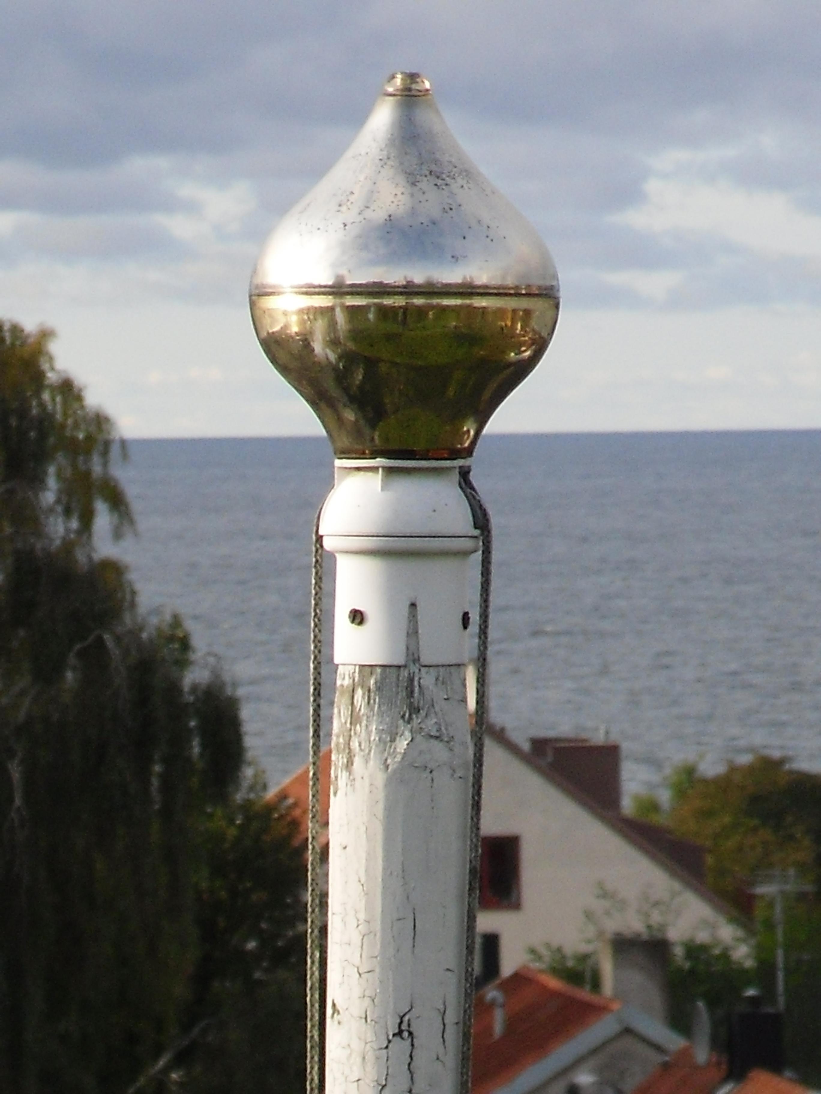 flaggstångsknopp i glas