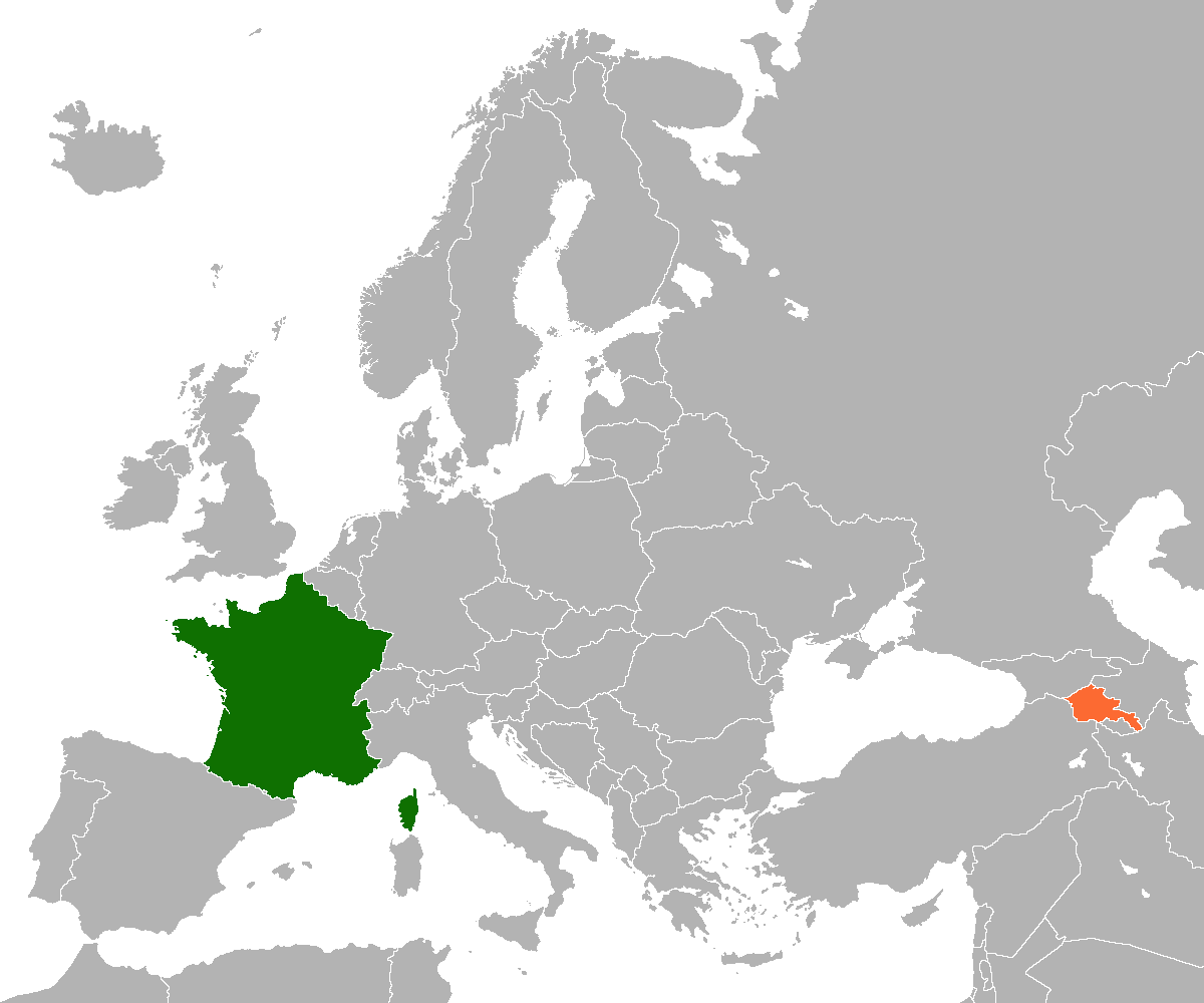 Map indicating locations of France and Armenia