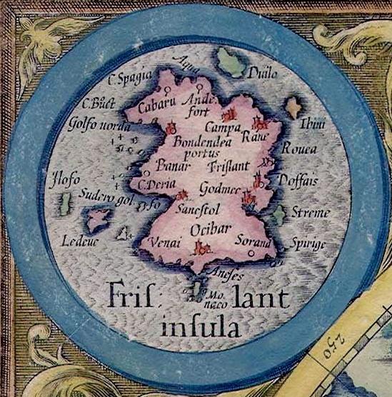 Den imaginære øya Frisland på Gerard Mercators kart over de arktiske områder. Utg. 1623. Commons.
